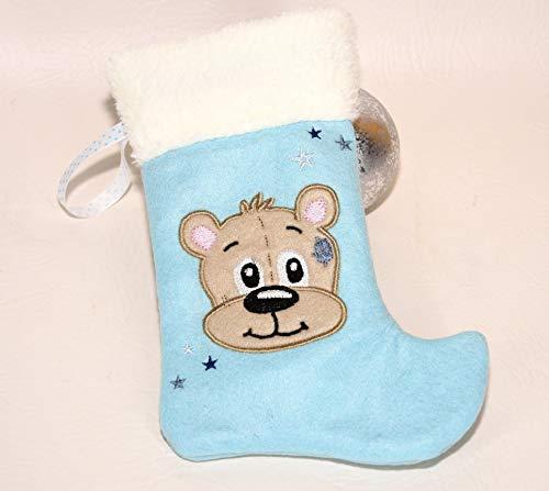 Nikolausstiefel zum Befüllen mit Teddy blau personalisierbar Weihnachtsgeschenk