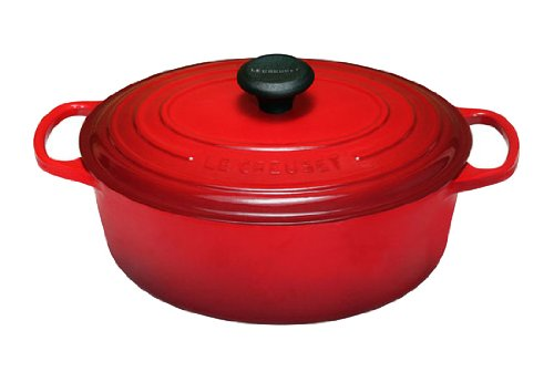 Le Creuset LS2502-3167 Signature Enameled Cast-Iron Oval French (Dutch) Oven, 6.75 Quart, Cerise