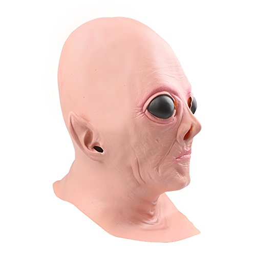 OM(TM) Halloween Creepy Realistic UFO Alien Head Mask Latex - Fancy Dress by YOUTUMALL