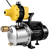 VEVOR Shallow Well Jet Pump 1 HP, Jet Pump 14.5 GPM Max. Flow, 170.6 ft Max. Head Well Jet Pump, Pressure Booster Pump, Shallow Well Self-priming Jet Pump System with an Electric Control