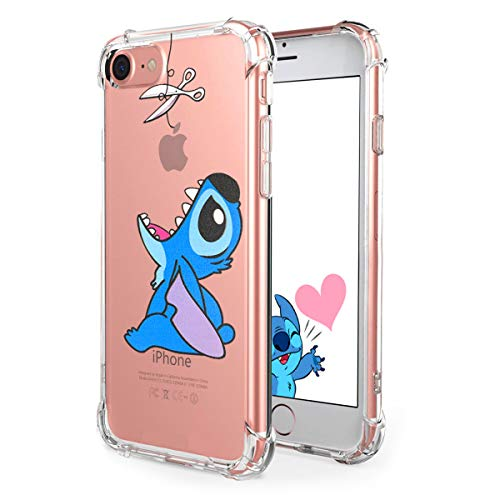 "Logee TPU Stitch Cute Cartoon Clear Case for iPhone 8/iPhone 7 4.7"",Fun Kawaii Animal Soft Protective Cover,Ultra-Thin Shockproof Funny Creative Character Cases for Kids Teens Girls Boys (iPhone7/8)"