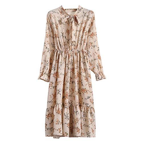 Xmiral Damen Kleid Floral Chiffon Langarm Druck Lässige Party Vintage Boho Maxi Kleider(L,Khaki 3)