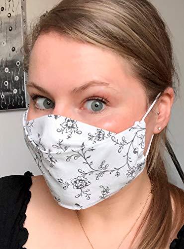 Mundschutz Mund-Nasen-Maske Mundbedeckung Behelfsmaske für Damen mit Gummikordel Handmade in Germany
