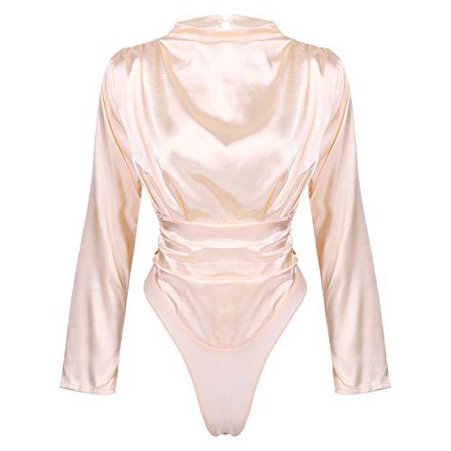 Kaerm Damen Bodysuit Einteiler Hoher Hals Seidig Overall Schlafanzug Sexy Catsuit Offen Ouvert Dessous Gogo Tanz Rave Outfits Champagne Rosa L