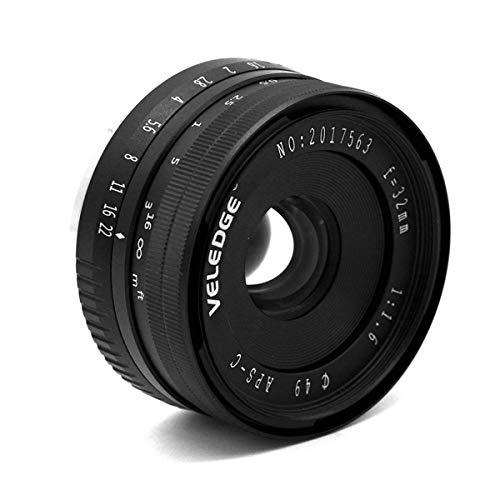Yunnyp Yunnyp groot diafragma lens handmatig, 32 mm F1.6 groot diafragma handmatige Prime vaste lens voor Sony APS-C E-Mount digitale spiegelloze camera's A6000 6300 NEX