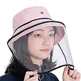 帽子 レディース サンバイザー ハット 漁師帽 UVカット 春夏秋冬 飛沫 日焼け 使い方2way フェイスカバー つば広 取り外し可能