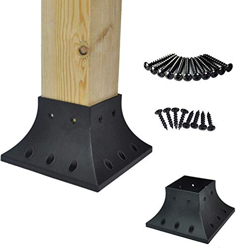 Myard PNP114040 4x4 (Actual 3.5x3.5) Inches Post Base Cover Skirt Flange with Screws for Deck Porch Handrail Railing Support Trim Anchor (Qty 16, Black)