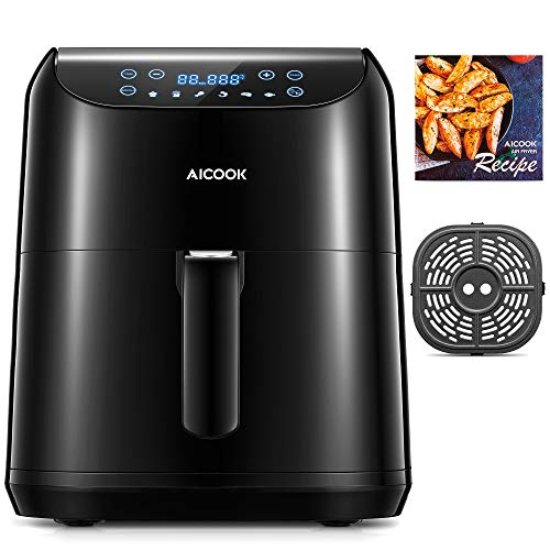 Aicook 5.5L Freidora sin Aceite (Pantalla LED Tactil), 1700W Freidora de Aire con 6 programas preestablecidos, Temperatura y Tiempo Ajustable, Gran Cesta Cuadrada y Libro de Recetas Incluidos