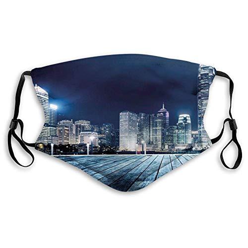 Mundschutz Gesichtssch Komfortable Abdeckung, Landschaft, Asien-China Hong Kong City Skyline View bei Blue Night Towers und Skyscapers Foto, Navy BlueIn-Dia