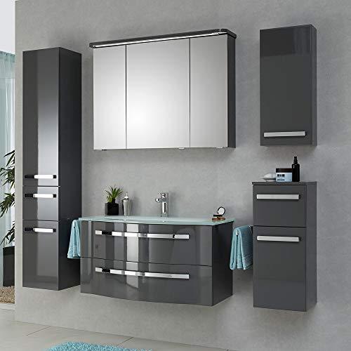 Lomadox - Mueble para Cuarto de baño (90 cm, con Lavabo de Cristal, Armario con Espejo, Fabricado en Alemania), Color Gris Brillante