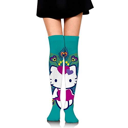 Frauen Oberschenkel Hohe Socken Kompression Beinwärmer Pfau Hello Kitty Stiefel Strumpf Extra lange Sport Tube Socken