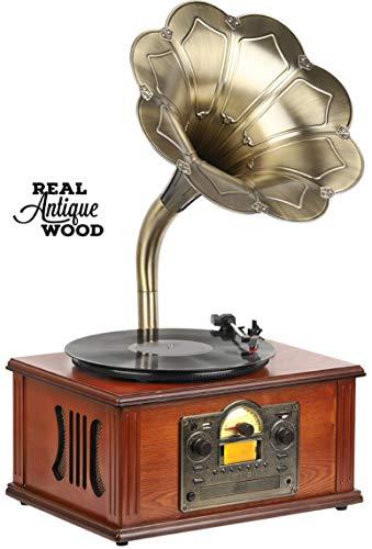 Retro Nostalgie Musikanlage | Grammophon | Kompaktanlage | Stereoanlage | Plattenspieler | Bluetooth | CD MP3 Player | USB SD-Card | Kassettenspieler | Radio | Vintage Retro-Anlage