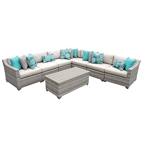 TK Classics FAIRMONT-08a 8 Piece Outdoor Wicker Patio Furniture Set