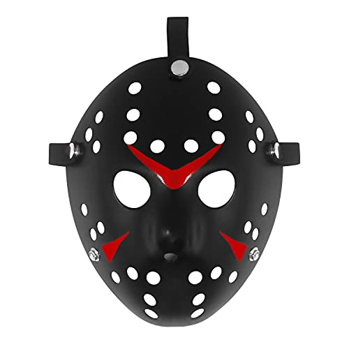 Udekit Maschera di Jason Travestimento di Halloween Maschera per il Viso Horror Oggetti di Scena per Cosplay Nero