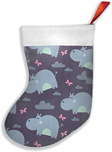 GRGRTGH Lovely Hippo Santa Claus Gift Socks Christmas Holiday Personalized Socks for Decorations...