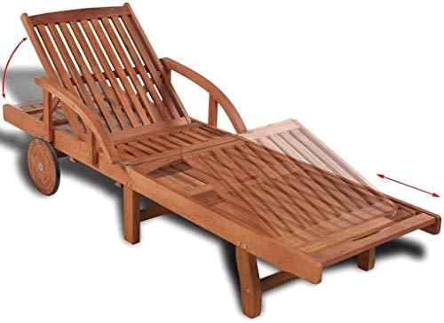 Tumbonas ajustable reclinables sillones de madera de jardín Reposeras de muebles de teca Terraza sillas de sauna y piscina,Brown