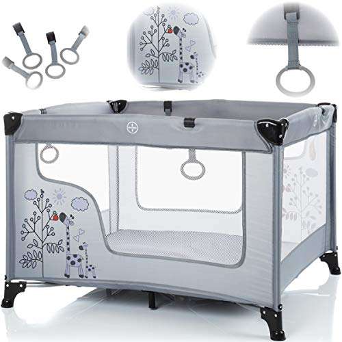 Spielstall Laufstall Reisebett mit Matratze (Design: GIRAFFE) + 4 Greifringe