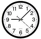 Tebery Reloj de pared redondo grande de 30 cm, silencioso, sin garrapatas, para oficina, sala de estar, cocina, dormitorio, gimnasio, estilo moderno, elegante, marco negro, esfera blanca