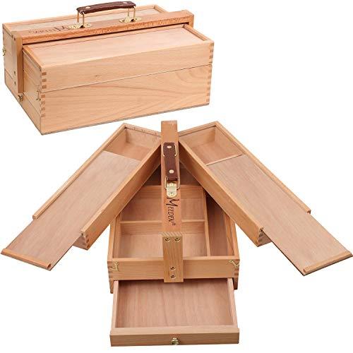 MEEDEN Artist Supply Opbergbox - Draagbare opvouwbare multifunctionele beukenhouten artiest gereedschap & penseel opbergdoos met compartimenten & lade voor pastels, potloden, pennen, markers, borstels