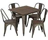 FDW 5-Piece Patio Table Set Outdoor Table and Chairs Set Metal Table Set Home Kitchen Dining Table Set Wood Top Table 31x31 Inches Bar Coffee Table Set Restaurant Indoor Outdoor Square Table 4 Chairs