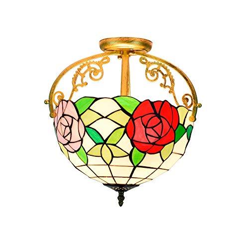 Tiffany Style 12 pulgadas Luz de techo medio, Tiffany Two-Tone Rose Glass Style Lámpara de techo Lámpara colgante Luz de sala de estar Lámpara de pasillo Lámparas de techo de estilo Tiffany Beautiful