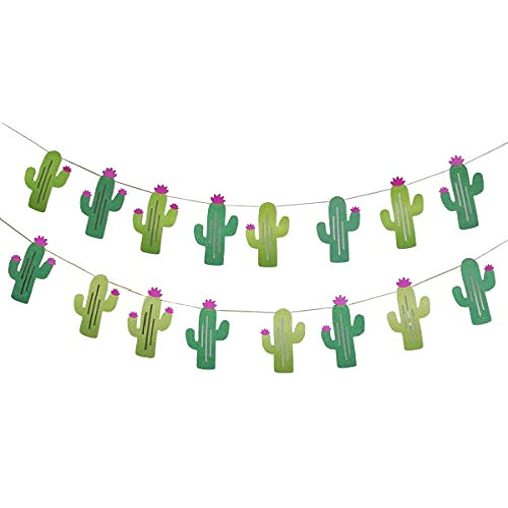 Misscrafts 2 Pack Cactus Banners Sparkling Hanging Garlands Total 16pcs Paper Cactus 15.6' Long for Kids Birthday Summer Tropical Wedding Fiesta Bachelorette Party Decor Favor
