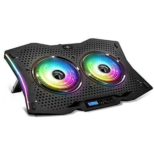 SPIRIT OF GAMER - AIRBLADE 1000 RGB : Refrigerador para PC PORTATIL / 2 Ventiladores LED RGB / 8 Posiciones Ajustables/Puerto USB/Ordenadores Portátiles De hasta 17' / Chasis De Aluminio