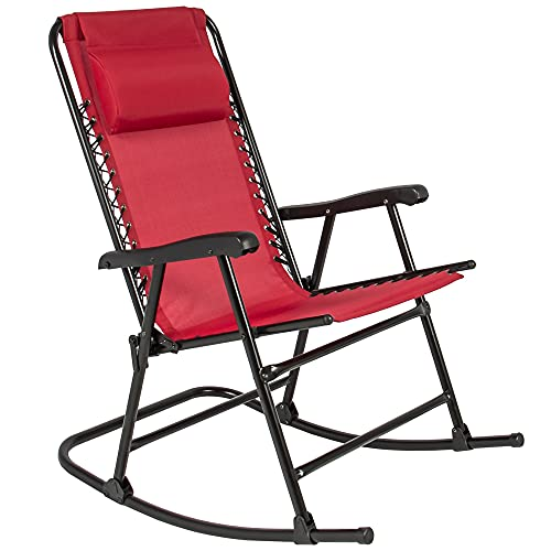 Best Choice Products Foldable Zero Gravity Rocking Mesh Patio Lounge Chair w/Headrest Pillow - Red