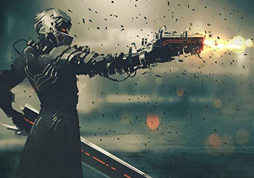 wandmotiv24 Fototapete Anime Waffe Soldat M 250 x 175 cm - 5 Teile Fototapeten, Wandbild, Motivtapeten, Vlies-Tapeten Fantasy Pistole Futuristisch M5851