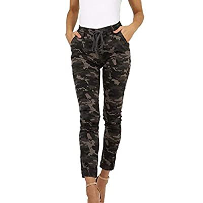 RAINED-Women Stretch Joggers Pants Premium Soft Camo Fitness Harem Pants Casual Bow Tie Skinny Army Cargo Pants
