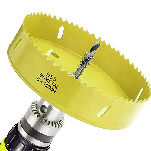 6 Inch 152mm Bi-Metal Heavy Duty Yellow Hole Saw, 30mm Depth Steel Hole Cutter & Hex Shank Drill Bit Adapter Drilling Cutter For Smooth and Fast Cutting