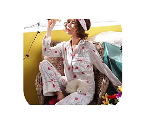 Goud Fluwelen Vrouwen Pyjama Winter Warm Pyjama Set Aardbei Slaapmode Lange Mouwen 2 Peices Nachtkleding