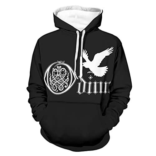 Shinelly Sudadera con capucha para hombre, diseño vikingo Odin Raven, diseño celta con nudo 3D, manga larga, con bolsillos, color blanco, talla L