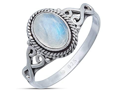 Ring aus Sterlingsilber mit weißem Mondstein