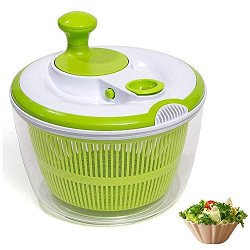 DenSan Multifunction Jumbo 4.5 Quart Salad Spinner, Manual Good Grips Vegetables Dryer Dry Off Drain Quick Filter Lettuce Spinner(Green)