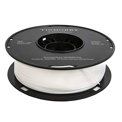 Filament 1.75 mm PLA, TINMORRY Tangle-Free PLA Filament-3D-Druckmaterialien, Toleranz beim Durchmesser liegt bei +/- 0,02 mm 1kg 1 Spule, Reinweiß