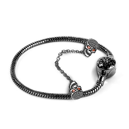 GNOCE Black Skull Charm Bracelet with Safety Chain Sterling Silver Snake Chain'Because I Love You' Basic Charm Bangle with Round Clasp (Black, 22)