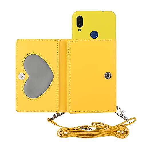 ShinyCase para Redmi Note7,PU Billetera Que se Adhiere a la Parte Posterior la Cubierta del Teléfono TPU,con Cordón,Prueba de Golpes Silicona Funda para Redmi Note7 Amarillo
