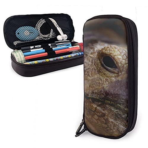 Coahuilan Box Turtle Tropic Garden Terrapene Estuche para lápices de cuero, gran capacidad, duradero, con cremallera, estuche para lápices, almacenamiento, maquillaje, cosméticos, útiles escolares
