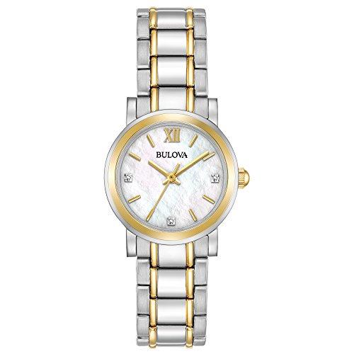 Bulova Reloj de cuarzo para mujer 98P165 Timeless Diamond esfera blanca