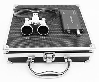Ocean-Aquarius Black Surgical Binocular Loupes 3.5X 420mm Working Distance Optical Glass with LED Head Light Lamp+Aluminum Box Black