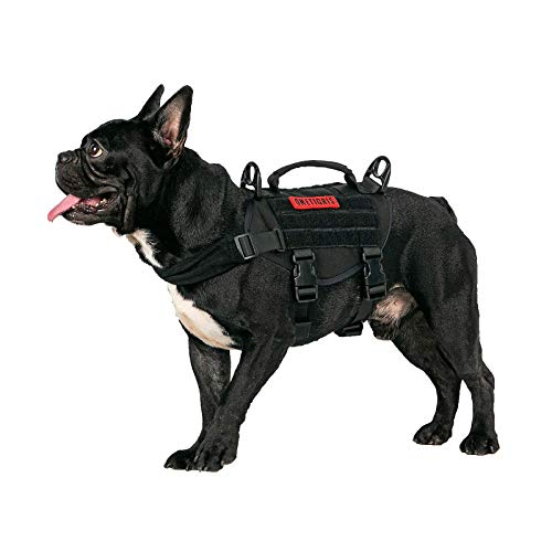 """OneTigris Tactical Dog Harness, Military Dog Harness with Durable Vertical Handle for Small Puppy Dog (XS:(Neck:11""""-17"""") (Chest:15""""-22"""")"""
