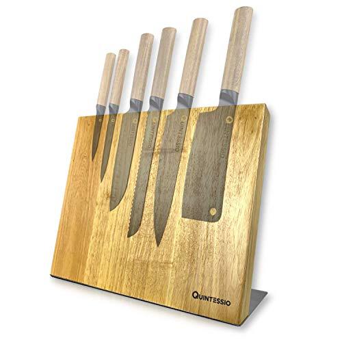 QUINTESSIO Blocco di coltelli magnetico senza coltelli - Portacoltelli magnetico in legno - Tavola di coltelli XL con magneti extra forti - Barra magnetica per coltelli da cucina