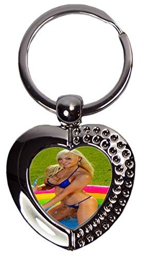 Schlüsselanhänger Sexy Fun Blondine Pool Herz Bedruckt