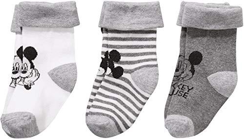 Golden Lutz - 3 Paar Baby Jungen Socken Söckchen Erstlingssocken (grau, Mickey Mouse, Gr. 11-14)| Disney