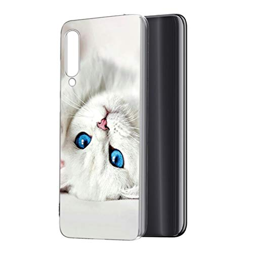 ZhuoFan Xiaomi Mi A3 Case, Phone Case Transparent Clear with Pattern Ultra Slim Shockproof Soft Gel TPU Silicone Back Cover Bumper Skin Cases for Xiaomi Mi A3 / Mi CC9e Smartphone, Blue Eyes Cat