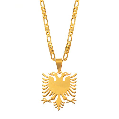 Inveroo Albanien Adler Anhänger Halsketten Gold Farbe & Edelstahl Schmuck Ethnische Geschenke Für Frauen Männer 45cm