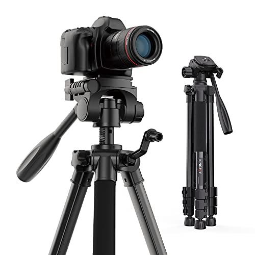 "KINGJOY 60"" Camera Tripod with Carry Bag, Lightweight Travel Aluminum Professional Tripod Stand (5kg/11lb Load) for Canon Nikon Sony DSLR SLR Cameras"