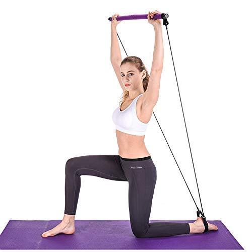 Equipo de barra de pilates portátil con banda de resistencia para yoga, pilates, con cinta para el pie para yoga, estiramientos, sentadillas