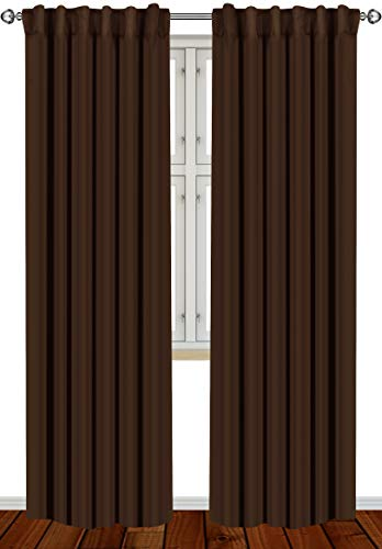 Utopia Bedding 2 Panels Blackout Curtains, W52 x L84 Inches, Chocolate, Thermal Insulated Window Draperies - 7 Back Loops per Panel - 2 Tie Backs Included